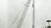 Třinec - installation of the stadium lighting (1976)