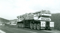 Importation of the new Demag TC 1200 crane to Czechoslovakia over the Rozvadov frontier crossing directly to the first construction site of the Čížkovice cement plant (1974)